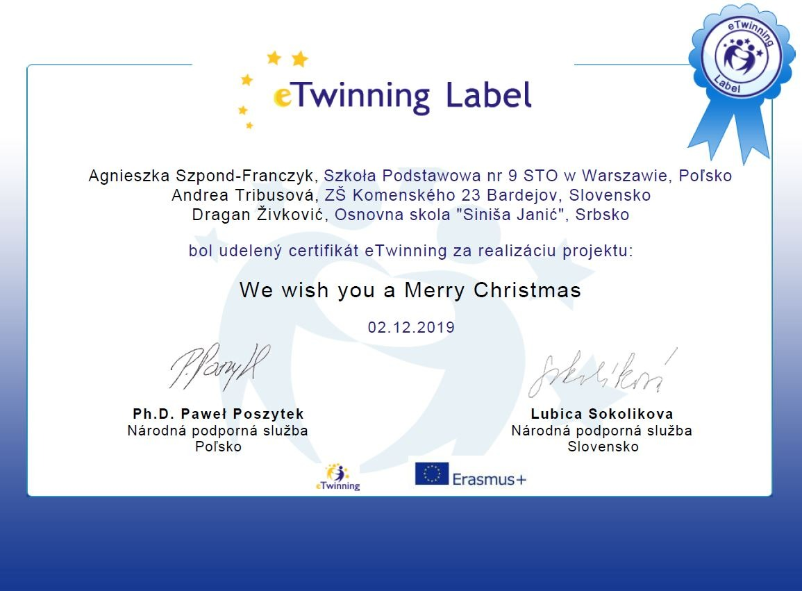 Projekt eTwinning: We wish you a Merry Christmas - Obrázok 2